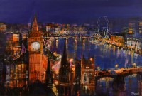 View Of The Thames At Night Mike Bernard