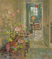 Susan Ryder Geranium and Staircase
