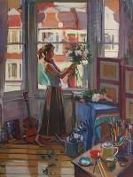 Luke Martineau Arranging Flowers in the Studio