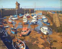 Luke Martineau Boats at Low Tide, Lynmouth Harbour
