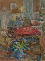 Susan Ryder Card Table with Red Cloth