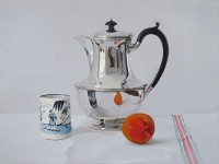 Alan Kingsbury RWA Silver Coffee Pot With Cup and Apricot