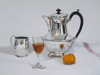 Alan Kingsbury Silver Coffee Pot  With Clementine and Wine
