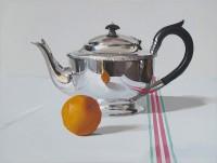 Alan Kingsbury Silver Teapot With Orange