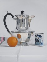 Alan Kingsbury Silver Coffee pot with Mandarin and cup