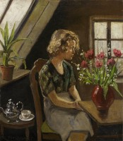 Christian Aigens Girl with a Teapot