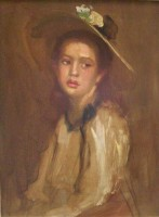 20th Century British Young Girl in a Bonnet
