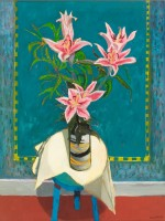 David Martin Oriental Lilies on a Stool