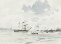 Edward Seago RWS RBA (1910-1974) The Barquentine Gazela on the Tagus