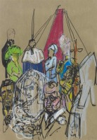 Feliks Topolski HRH Diana Princess of Wales being given away at the Altar
