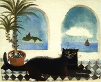 Mary Fedden Cat and Potted Palm
