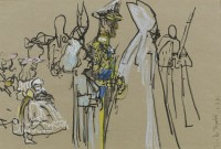 Feliks Topolski (1907-1989) The Duke of Edinburgh and HM Queen with Bridesmaids