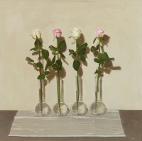 Sian Hopkinson Four Pink and White Roses