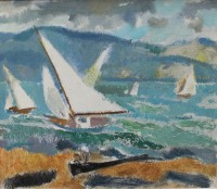 Alexander Milligan Galt RGI (1913-2000) Racing on the Gare Loch