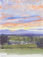 Howard Morgan Sunset over the Lugg with Residual Snow