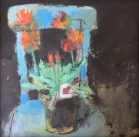 Helen Riches Arctotis on a Blue Chair