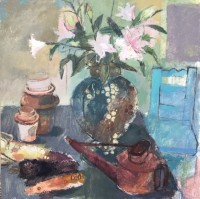 Helen Riches Lilies and Blue Chair