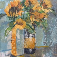 Helen Riches Sunflowers in Two Vases