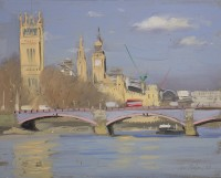 Tom Hughes Houses of Parliament and Lambeth Bridge in Bright Sun, February