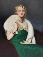 Istvan Szapudi-Laendler (1899–1945) Portrait of a Woman in a Green Dress and Fox Fur