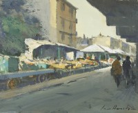 Ian Houston (b. 1934) Afternoon Sunlight in Church Street Market