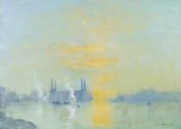 Ian Houston (b. 1934) Battersea Power Station, Study in Blue and Orange