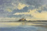 Ian Houston (b. 1934) Evening Light on Bamburgh Castle