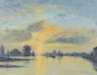 Ian Houston (b. 1934) Evening by Chiswick Eyot