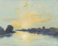 Ian Houston (b. 1934) Looking Upstream from Hammersmith Bridge
