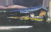 Ian Houston (b. 1934) Market Stalls, Late Afternoon in Rome