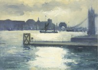 Ian Houston (b. 1934) Sailing Barge Outward Bound from St Katherine's Dock