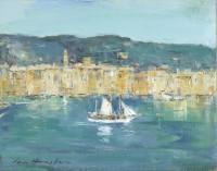 Ian Houston (b. 1934) Sailing Vessel Leaving Portofino