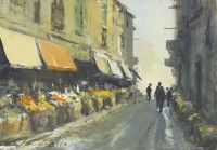 Ian Houston (b. 1934) Street Market in Sicily