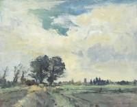 Ian Houston (b. 1934) Village and Fields, Norfolk