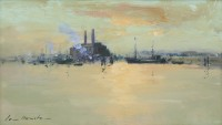 Ian Houston Evening Light on the Thames at Chelsea