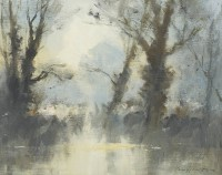 Ian Houston (b. 1934) Trees by the Water's Edge - Cotswolds Water Park