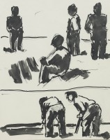 Josef Herman OBE RA (1911 – 2012) Study for 'Men at Rest, Men at Work'