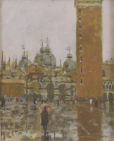 Ken Howard OBE RA (b. 1932) Wet Day, San Marco