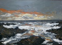 Martin Llewellyn Rocky Beach at Sunset