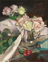 Luke Martineau Still life of roses and red scissors