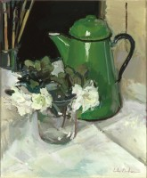 Luke Martineau Still life of white azeleas and green jug