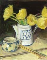 Luke Martineau Still Life of yellow tulips