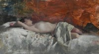 Michael Alford Nude Reclining on Embroidered Fabric