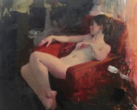Michael Alford Seated Nude, Red Chair II