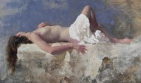 Michael Alford Sleeping Nude Blue and White I