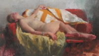 Michael Alford Sleeping Nude with Ochre Velvet & Quilt