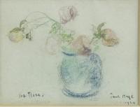 Paul Maze A Blue Vase of Five Roses