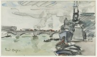 Paul Maze A Naval Vessel Moored at a River Spanned by a Bridge