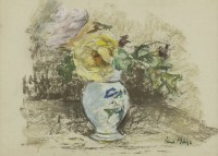 Paul Maze Two Roses in a Vase