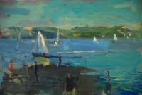 Richard Pikesley Dinghies, Evening Sun, Cobb to Golden Cap